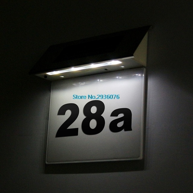 Outdoor Doorplate Number Solar Lamp Light operated Led Billboard