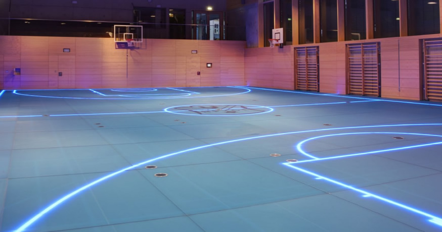 Gym's smart floor uses LED lights for changeable boundary lines