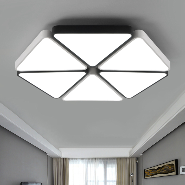 Modern triangle LED panel surface mounted ceiling lamp White/Black