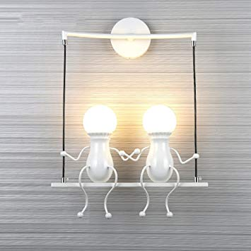 Creative Iron Wall Lamps, Nordic LED Swing Dolls Child Boy Girl