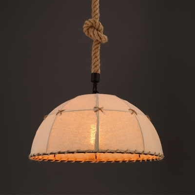 Vintage Style 1 Light Fabric Shade Pendant Light with Natural Rope