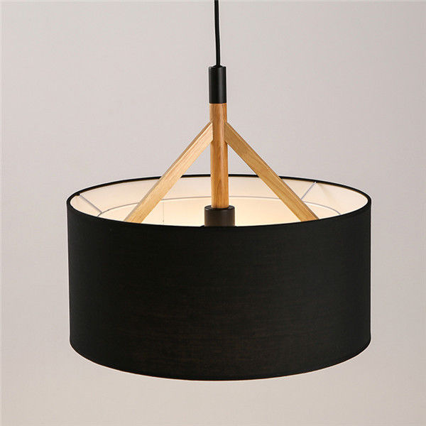 Modern Wood Pendant Lamp Fabric Drum Shade Chandelier Light Fixture