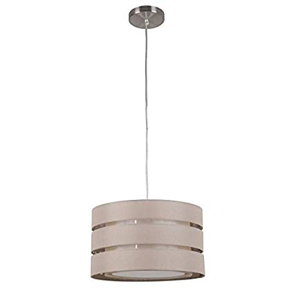 Style Selections 17-in Brown Pendant Light with Fabric Shade