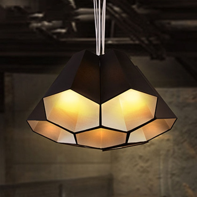 Nordic minimalist pendant light fabric shade hexagon shade DIY