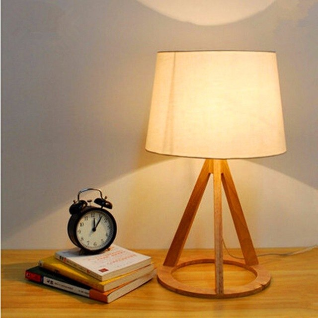 US $59.59 |Cottage Style Wooden Table Lamp 51*30cm E27 Wood Textile White  Lampsade Desk Light For Study Room Bedroom WTL011-in LED Table Lamps from