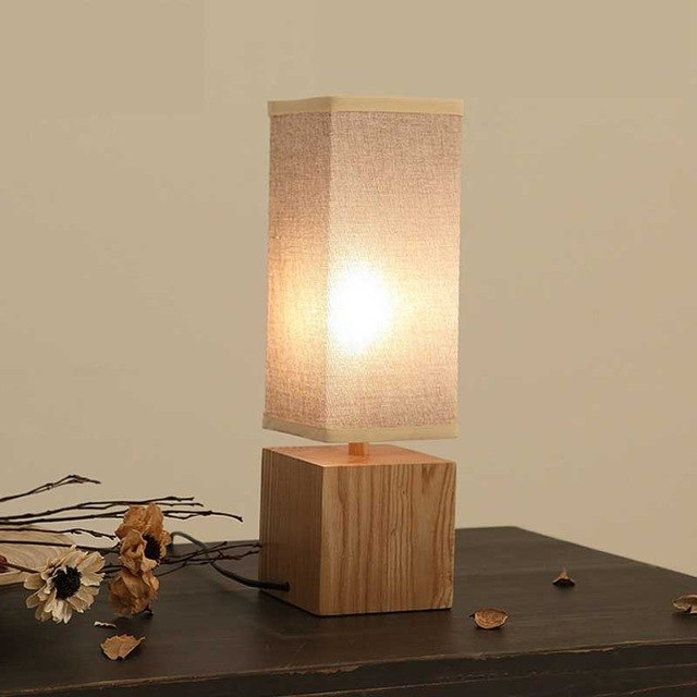 US $129.0 |solid wood table lamps textile retro bedroom bedside decorative  design lamps square desk lamps ZA81430-in Table Lamps from Lights &