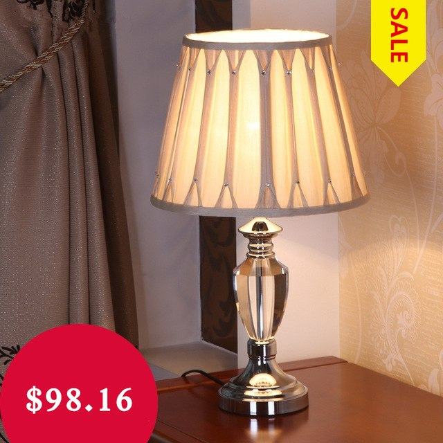 US $196.32 |Europe Luxury K9 Clear Crystal Table Lamp Textile Lampshade  Bedside Table Lamps LED Desk Lamp Abajur Para Quarto Tafellamp Hot-in Table