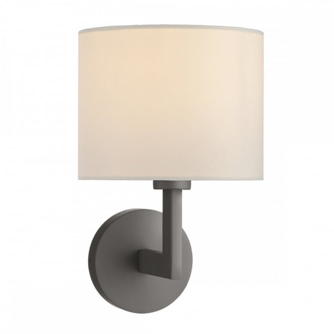 Contemporary Bronze Hotel Style Wall Light with Fabric Shade