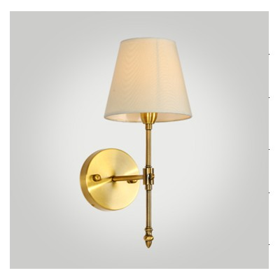 Antique Brushed Brass Wall Sconce with a Fabric Shade - Dezine