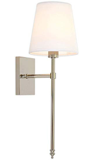 Single Traditional Extended Rod Wall Light with Fabric Shade