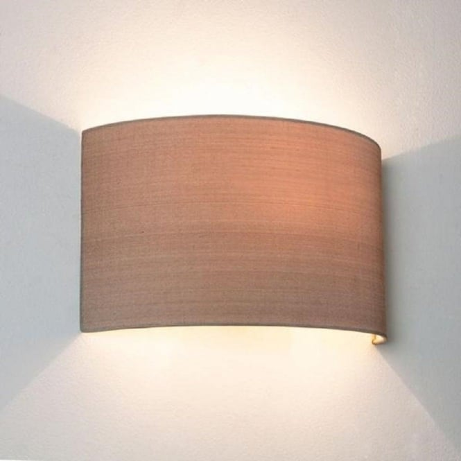 Oyster Coloured Curved Fabric Wall Washer Style Wall Light
