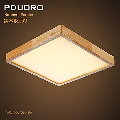 YPOSION Modern and minimalist wooden ceiling lamp led square timber