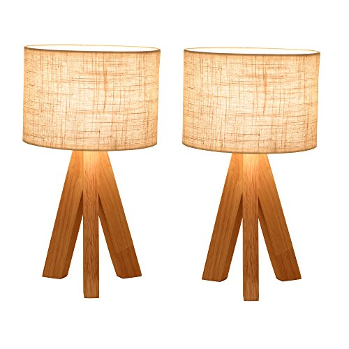 Ivalue Dimmable Wooden Table Lamps with Fabric Shade Tripod
