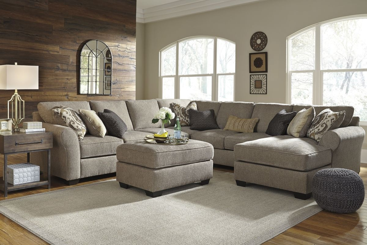 Ashley Furniture Pantomine 5 Piece Sectional Sofa with RAF Chaise in  Driftwood