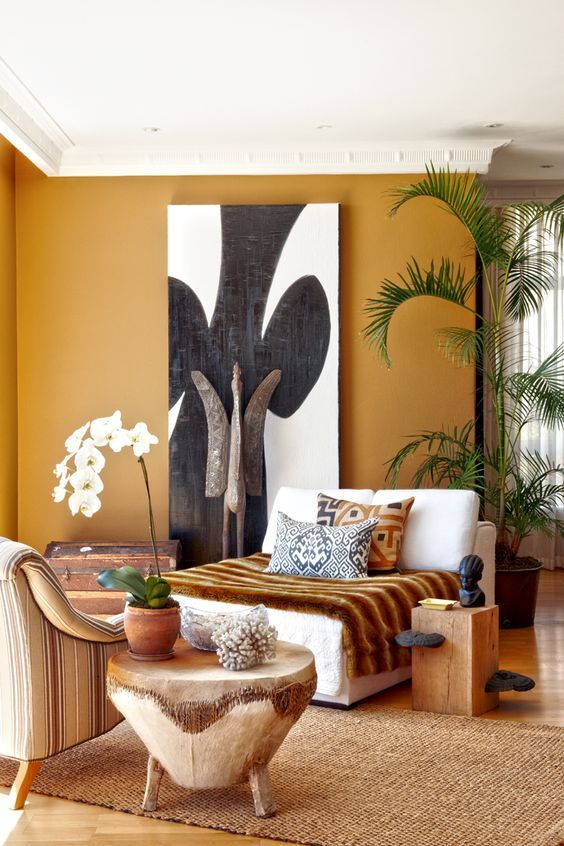 Ocher+shades+and+African+artworks+-+home+decor