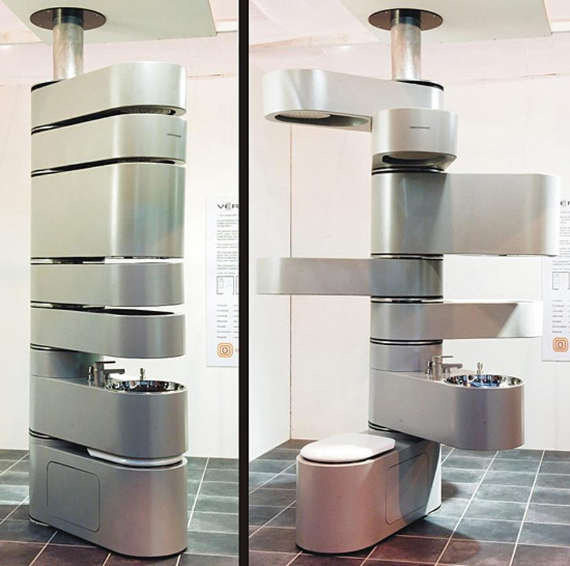 The Design Odyssey Vertebrae all-in-one bathroom for those New York City  and San Francisco Closet Ap - Pixdaus