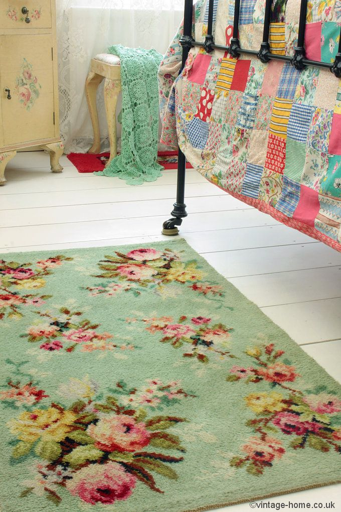 Vintage Home Shop - Pretty 1940s Rosy Green Rug: www.Traveller Location.uk |  HER OFFICE | Bedroom vintage, 1940s home, Granny chic