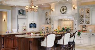 Large Traditional White Kitchen With Tray Ceiling