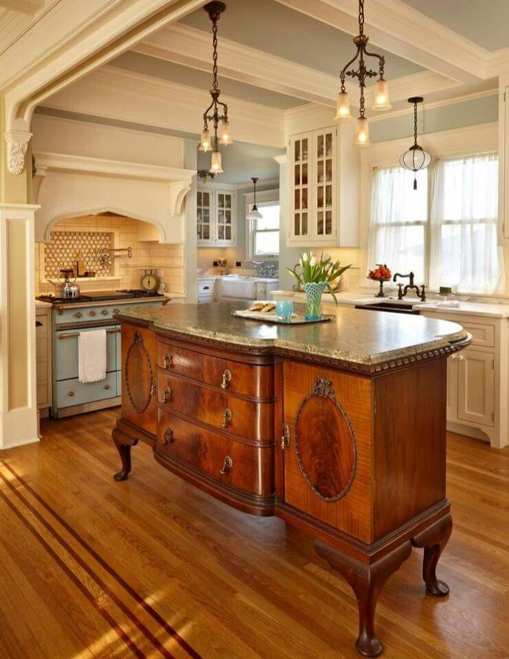 Beautiful Antique Kitchen Island-very French Country