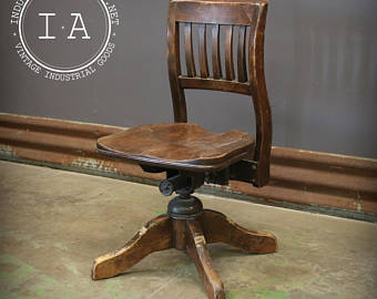 Antique Wooden Bankers Swivel Chair
