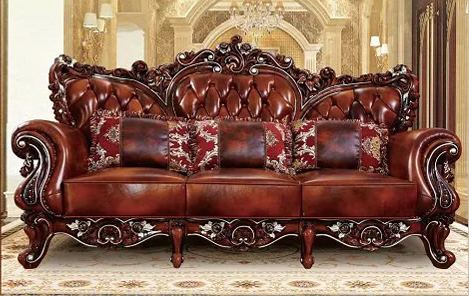designer neoclassical top graded cow real genuine leather antique living  room sofa sectional set home furniture 3 seater