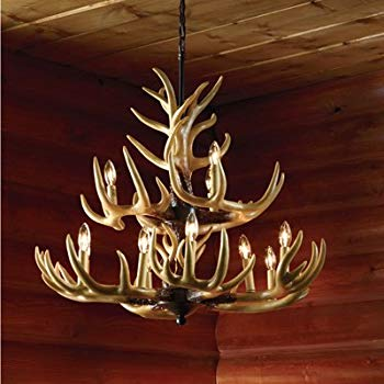 Twelve Light Deer Antler Chandelier Lighting - 36in. Chain
