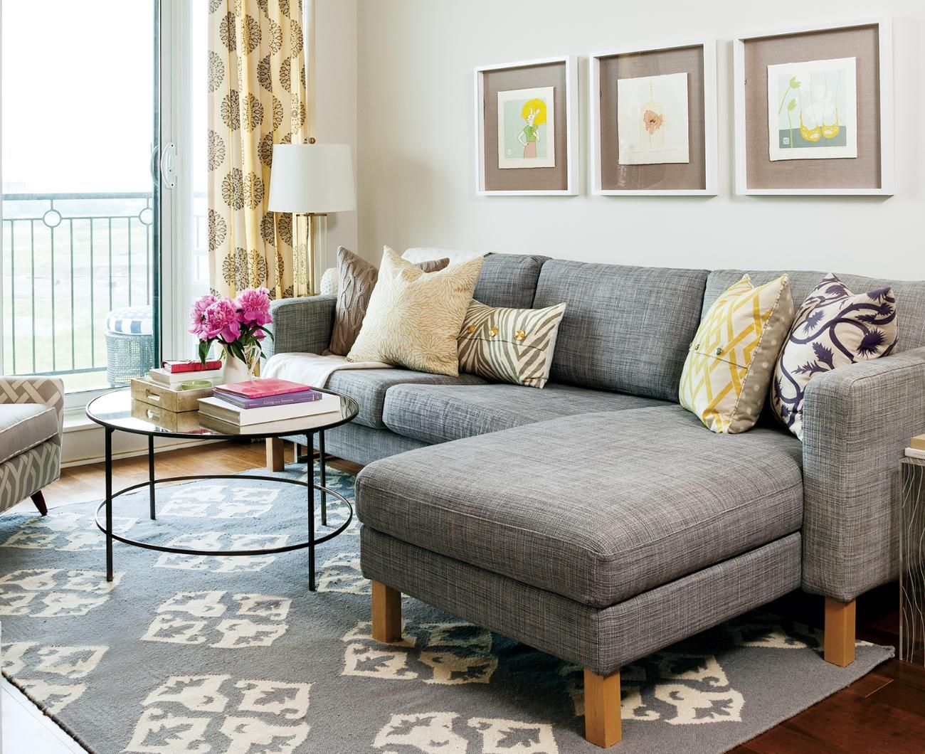 Gold and grey living room—Gold and grey combine beautifully in the airy living  room.