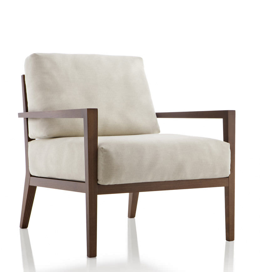 contemporary armchair / wooden / fabric / leather - EOS by Edi & Paolo Ciani