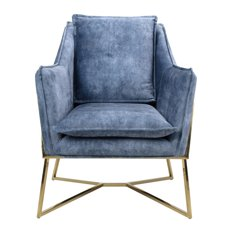 London Denim-Effect Lounge Chair