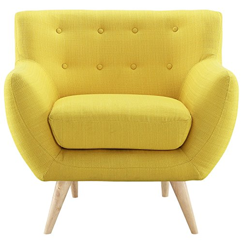 Modern Contemporary Armchair, Yellow Fabric