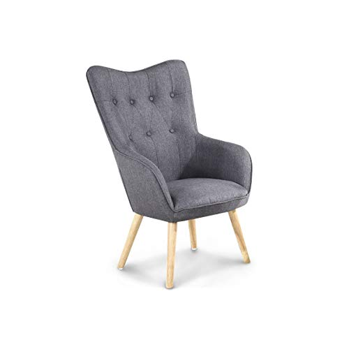Style In Design Alton Modern Occasional Accent Buttoned Back Chair- Silver  Crushed Velvet, Charcoal
