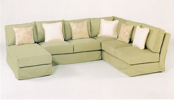 4 pc custom armless sectional sofa with slip covered pieces