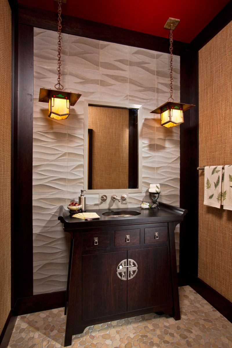 Asian-style bathrooms provide the perfect spot in which to rest, unwind and  recover at the end of each day, as well as a calming space where you can  prepare