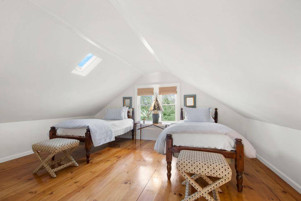 Twin bed for guest on attic room