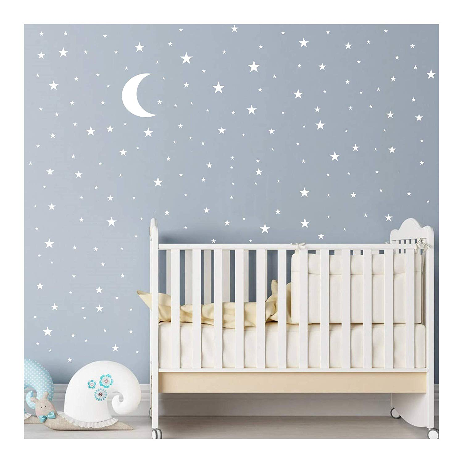 JOYRESIDE Moon and Stars Wall Decal Vinyl Sticker for Kids Boy Girls Baby  Room Decoration Good Night Nursery Wall Decor Home House Bedroom Design  YMX16