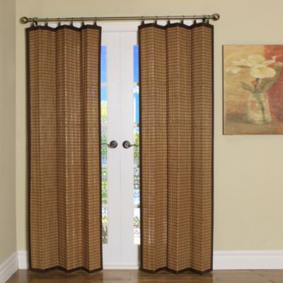 Easy Glide All-Natural Bamboo Ring Top Window Curtain Panels | Bed Bath &  Beyond