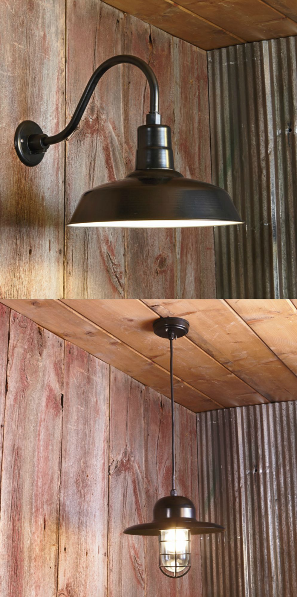 Affordable barn lights add a comfortable farmhouse feel. Multiple mount  options make the design possibilities endless!