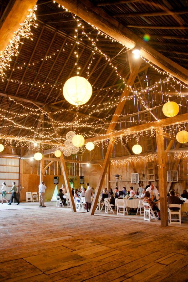 twinkle light and paper lanters barn wedding ideas