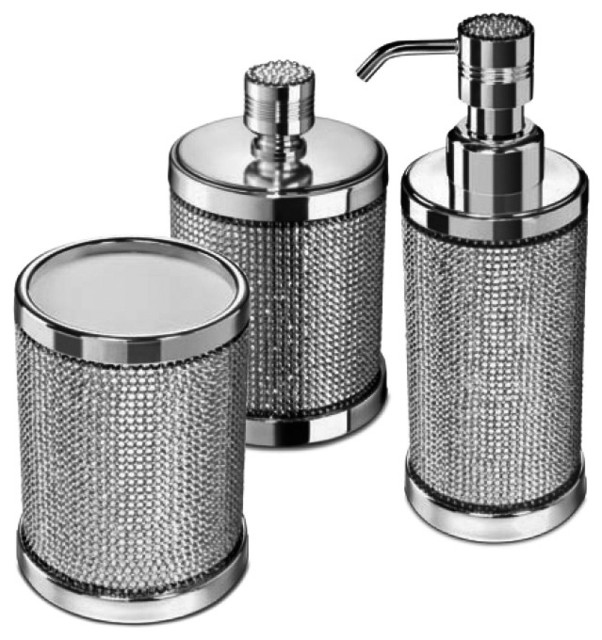 Starlight Bathroom Accessories Set With Swarovski, 3 Piece - Contemporary - Bathroom  Accessory Sets - by AGM Home Store