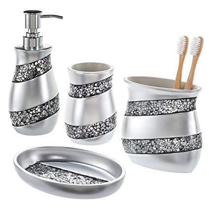 Creative Scents Bathroom Accessories Set, 4-Piece Silver Mosaic Glass  Luxury Bathroom Gift Set