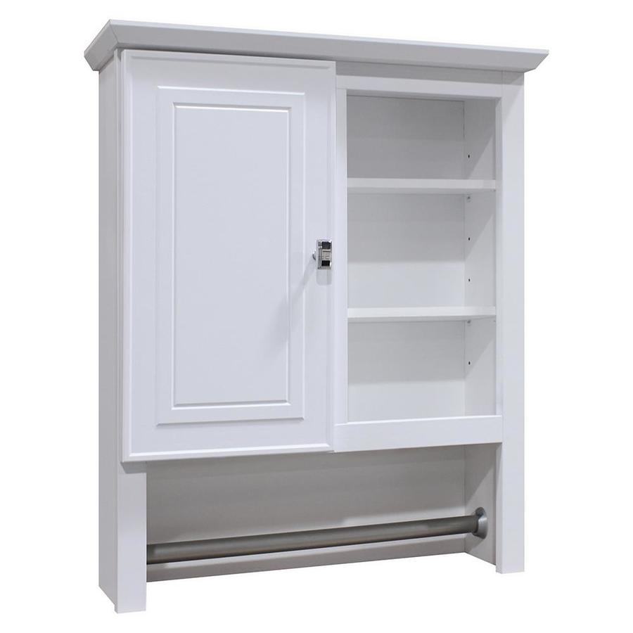 Style Selections 24.5-in W x 29-in H x 7.66-in D White Bathroom Wall Cabinet