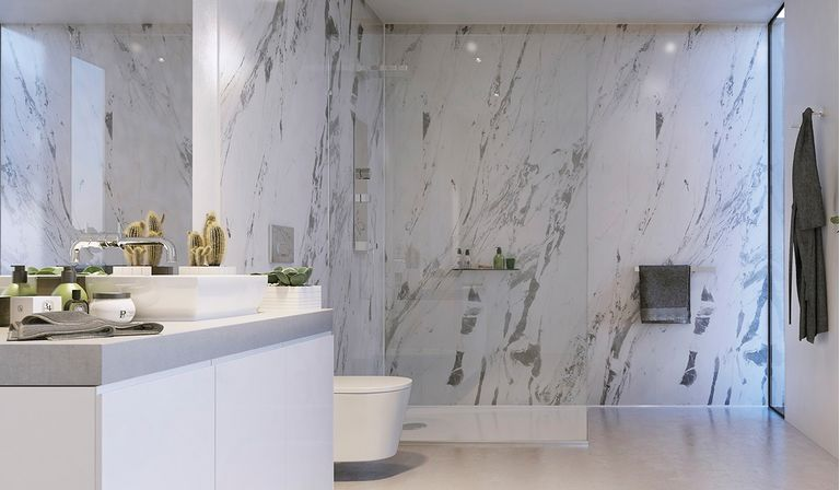These bathroom wall panels come in range of different finishes, from  glass-like acrylic to authentic synchronised textures and the innovative  Proclick