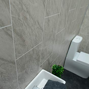 Claddtech Grey Marble Bathroom Wall Panels Tile Effect cladding Used in  Kitchen, Office Ceiling and