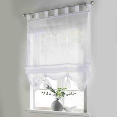 Roman Curtain Floral Printing Sheer Window Curtain For Kitchen Living Room  Voile Screening Panel