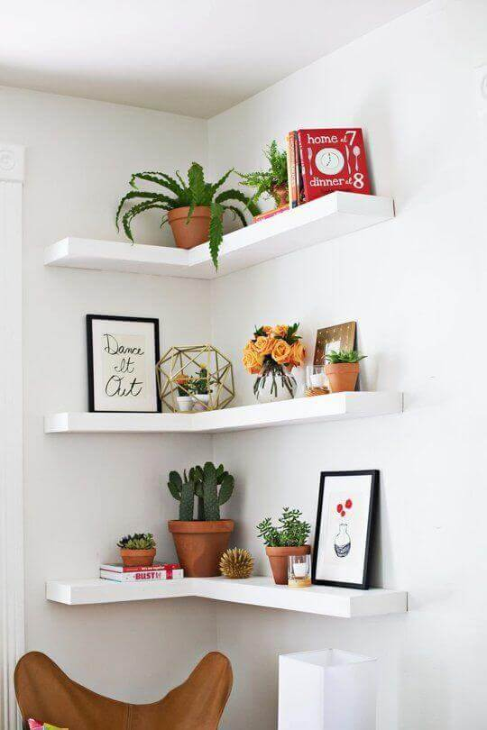 On these corner wall shelves for bedroom ideas you will find you can use  your vertical