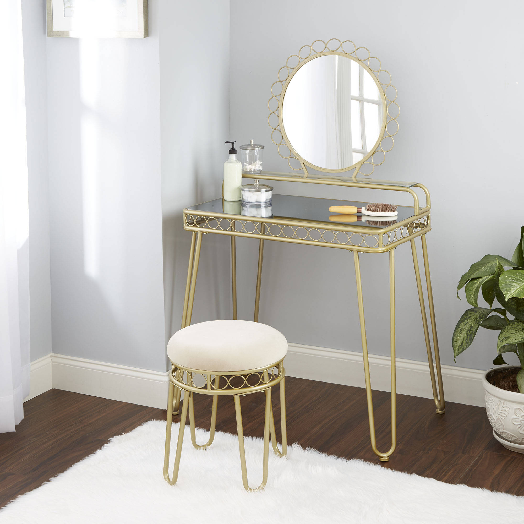 Details about Bedroom Vanity Table Mirrored Glass Shelf Storage w/ Stool  Chic Versatile New