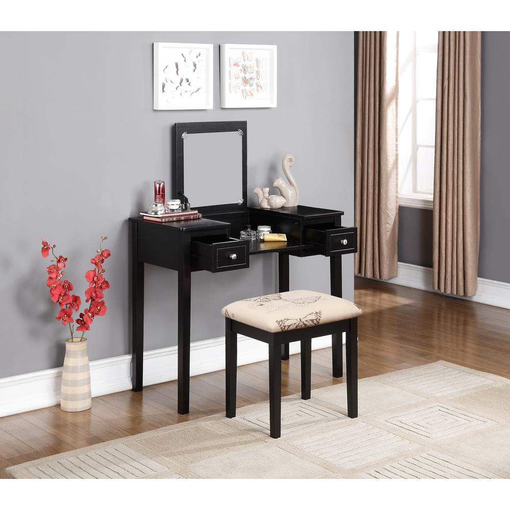 Linon Home Decor Black Bedroom Vanity Table with Butterfly  Bench-98135BLKX-01-KD-U - The Home Depot