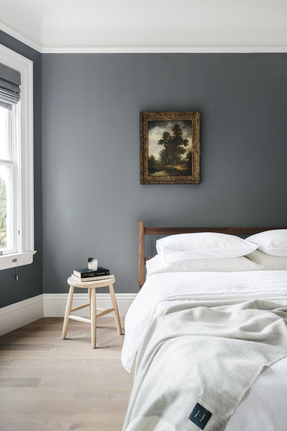 simple bedroom with one piece of great vintage art. Grey Bedroom Walls,  Dark Grey