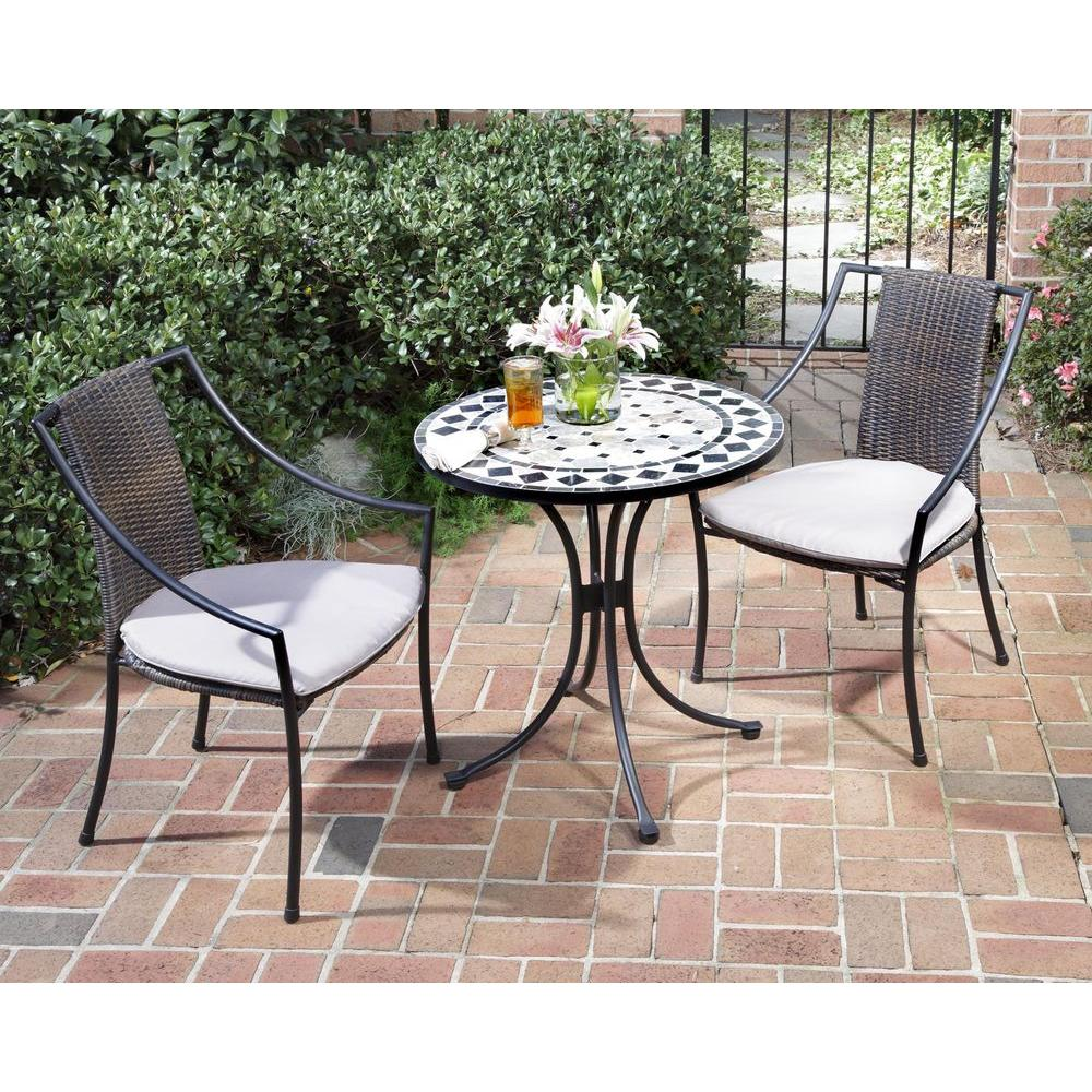 Home Styles Black and Tan 3-Piece Tile Top Patio Bistro Set with Taupe  Cushions