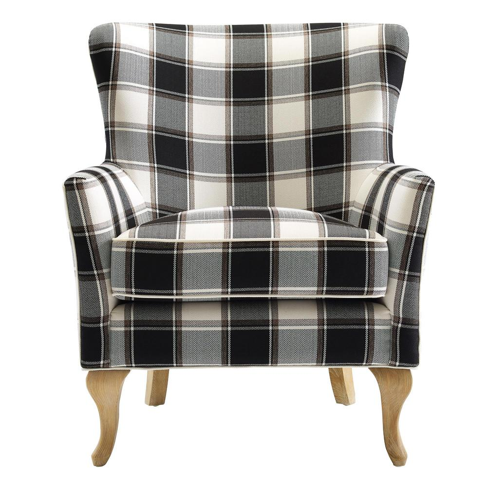 Dorel Emerie Black and White Checkered Pattern Accent Chair-FH8129 - The  Home Depot